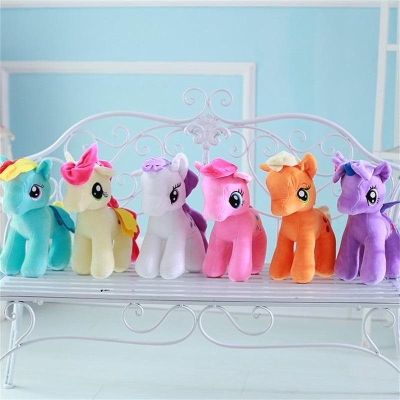 30cm Cartoon my beautiful little Rainbow horse Soft Plush poni Animal dolls for Baby children Christmas