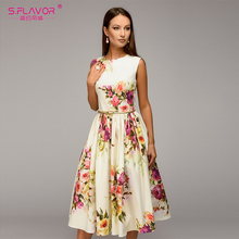 973dd9f19e S.FLAVOR Lady party dress Hot sale Spring Summer women sleeveless flowers  printing vestidos Elegant casual A-line dress