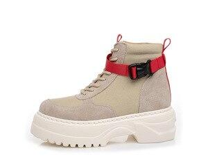 Image 5 - SWYIVY inek süet rahat ayakkabılar kadın yüksek Top kadın ayakkabı 2019 sonbahar hakiki deri bayan ayakkabı platformu kadınlar için Sneakers