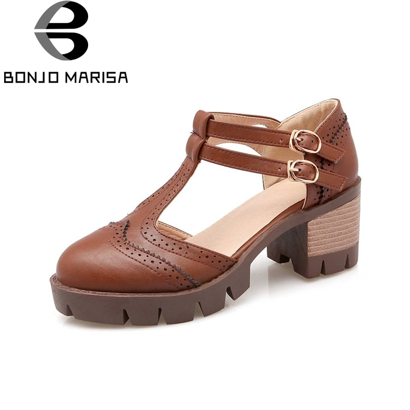 BONJOMARISA Big Size Rome T Straps Buckle Chunky Heels Summer Shoes Woman Outdoor Casual Dress Girl Women Gladiator Sandals fashion retro style fringe gladiator sandals women rome peep toe flats casual dress shoes woman big size 34 41 summer slipeers
