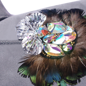 2018 Arc Gris Cuir La Cristal Femmes Chaud Neige Luxe À Bottes De Main Hiver Marque Personnalisé En Strass Plume ZUxqwZd
