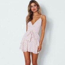 Pink Summer Dress Fashion Women Ruffles Chiffhon Beach Female Dresses Spaghetti Strap Sexy Mini Vestidos