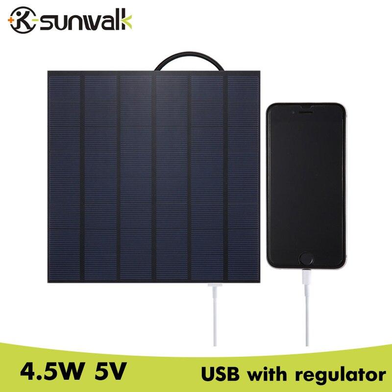 SUNWALK 4.5W 5V USB Output Polysilicon Solar Charger 700mA Solar Panel Charger for Power Bank Mobile GPS 5V device