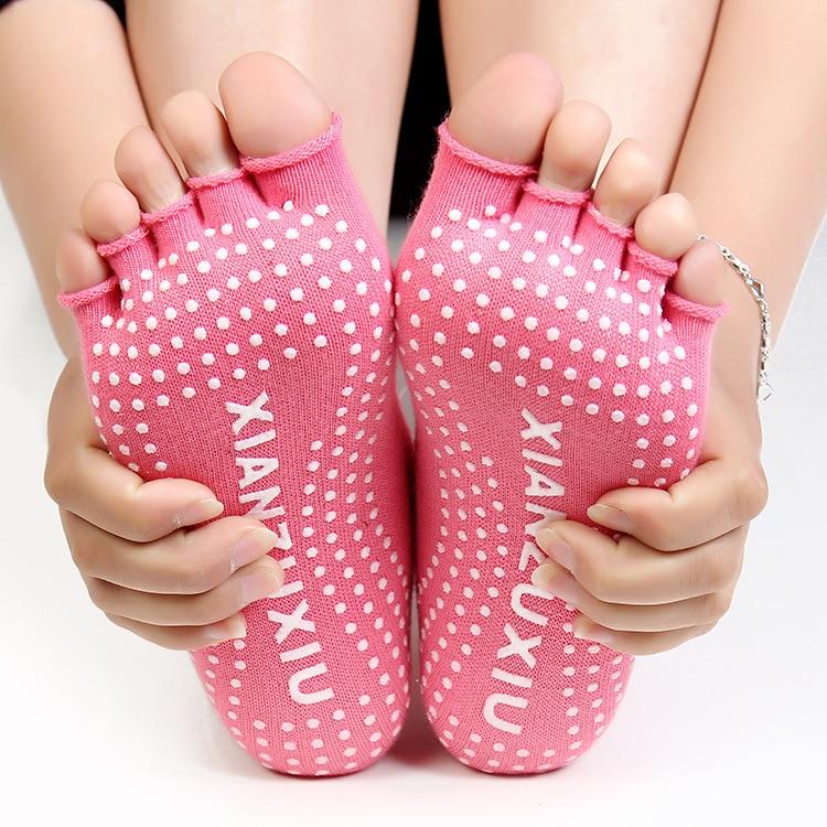 Women Yoga Socks Half Toe Non Slip Ladies Massage Sport Socks Half-fingers Cotton Warm Exercise Running Hose Free Shipping yoga grip socks non slip full toe socks