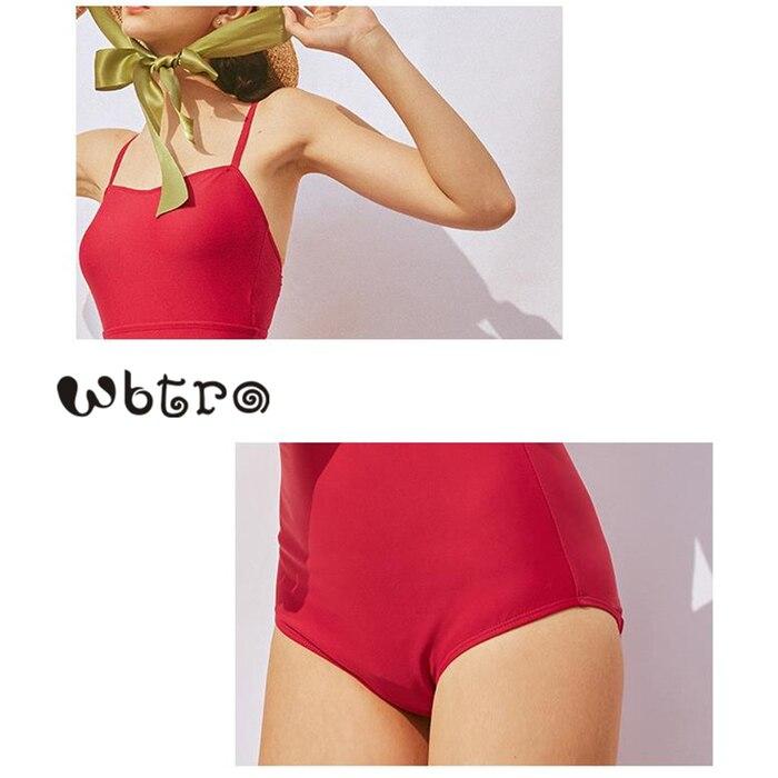 WBTRO Vintage Women One Piece Swimsuit Beach Chiffon Skirt Grace Red Pleated Skirt Swimwear Bikini Push Up High Waist Monokini in Body Suits from Sports Entertainment