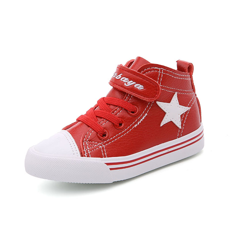 Babaya Kids Canvas Shoes Leather Boys Girls Waterproof Ankle High Boots Black Red White School Students Casual Shoes Hook Loop