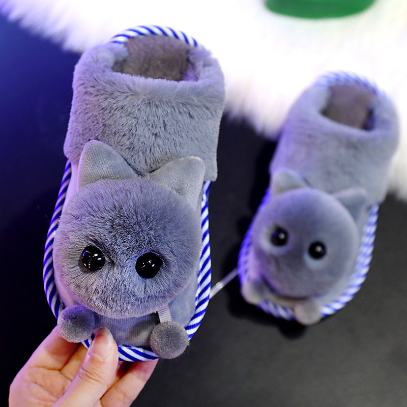 Autumn/winter Children Home Slippers Kids Baby Cotton Shoes Cute Cartoon Boys Indoor Slippers Girls Warm Velvet Shoes Soft