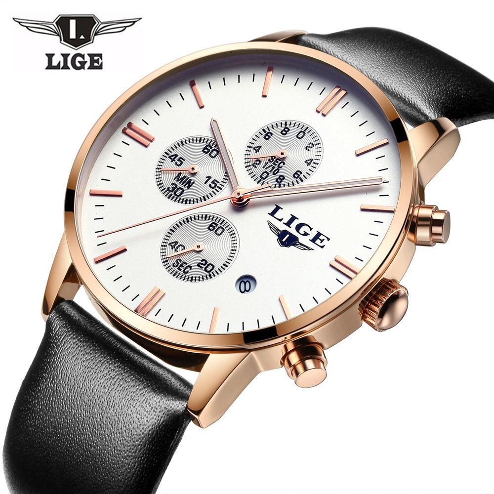 Prix pour LIGE Marque Montres hommes de luxe de mode casual en cuir montre À Quartz hommes horloge sport montre-bracelet d'affaires de Plongée relogio masculino