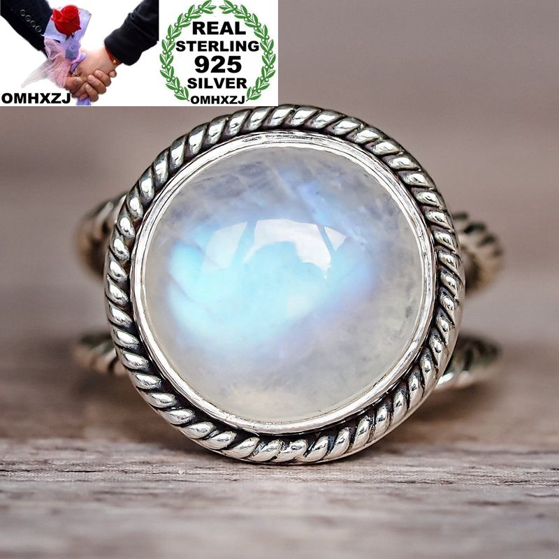 OMHXZJ Wholesale European Fashion Woman Man Party Wedding Gift Silver White Round Moonstone 925 Sterling Silver Ring RR74OMHXZJ Wholesale European Fashion Woman Man Party Wedding Gift Silver White Round Moonstone 925 Sterling Silver Ring RR74