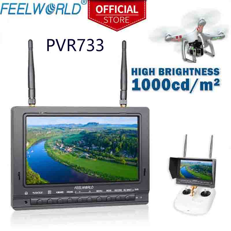 FEELWORLD PVR733 7 Inch High Brightness 1000nit Sun Readable FPV Monitor Built-in Battery Dual 5.8G 32CH Receiver DVR