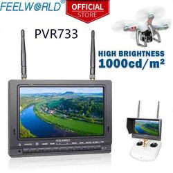 FEELWORLD PVR733 7 inch high brightness 1000nit Sun Readable FPV Monitor Built-in Battery Dual 5.8G 32CH Receiver DVR
