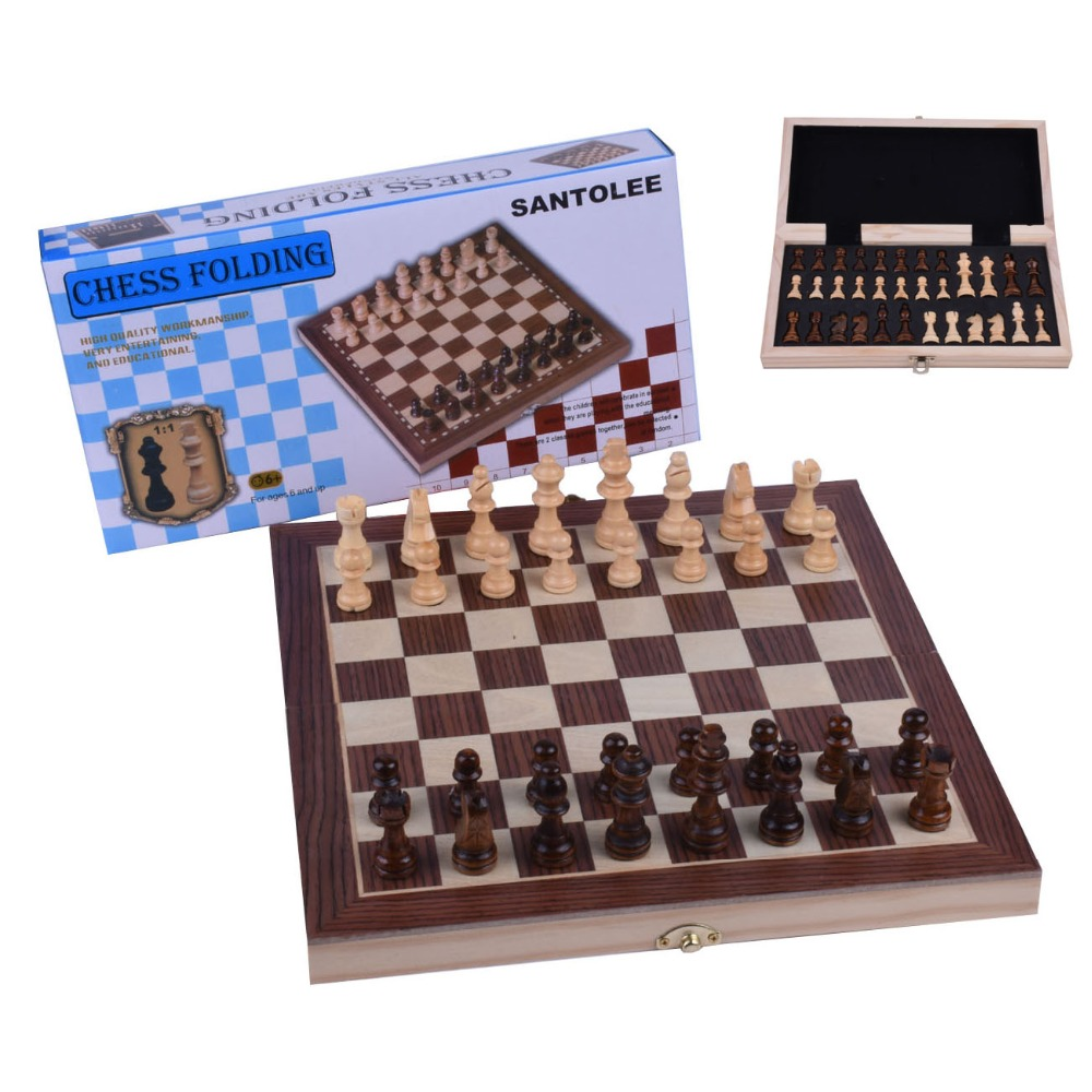 Kids Adult Magnetic Chess Set Folding Professional Portable Storage Slots Wooden Chess Board Game Set with Crafted Chess pieces in Chess Sets from Sports Entertainment