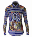 Unique Design Royal Style European Men Fashion Print Shirt Men's Long Sleeve Slim Handsome Shirts