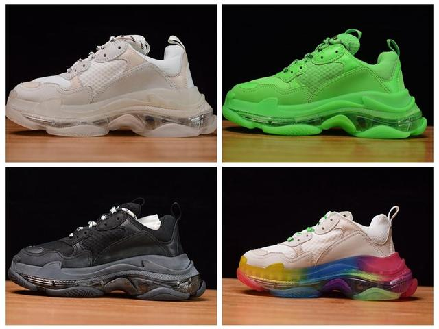 Men Triple S Clear Sole Black shoes Women Dad Clear Sole White Trainers Fashion Neon Green Sneakers