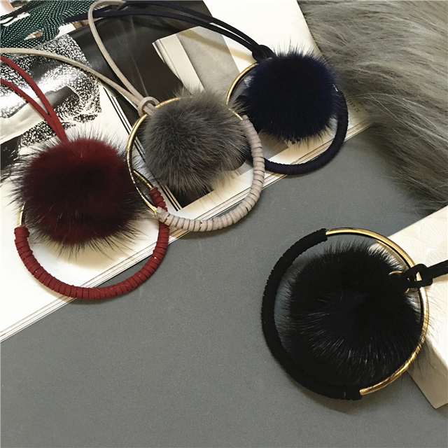 Top Quality Super Star style Mink fur Ball Metal Round Necklaces for Women Sweater Chain.Winter Jewelry