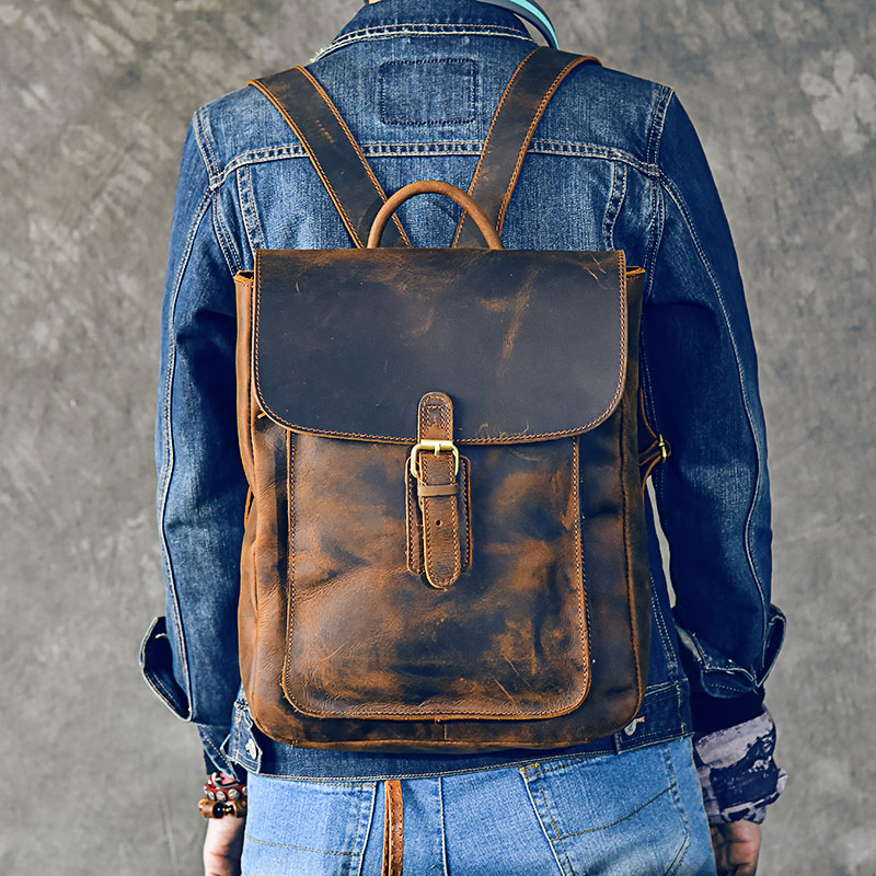 Crazy Horse Cowhide Men Backpack Genuine Leather Vintage Daypack Travel Casual School Book
