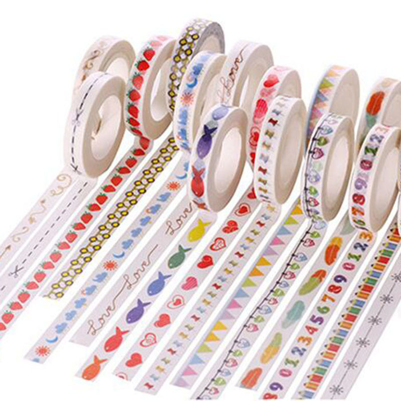 7pcs Cute Fashion Printing Adhesive Tape Creative Home Stationery Decoration Tape Stickers For Kids Great Gifts School Supplies