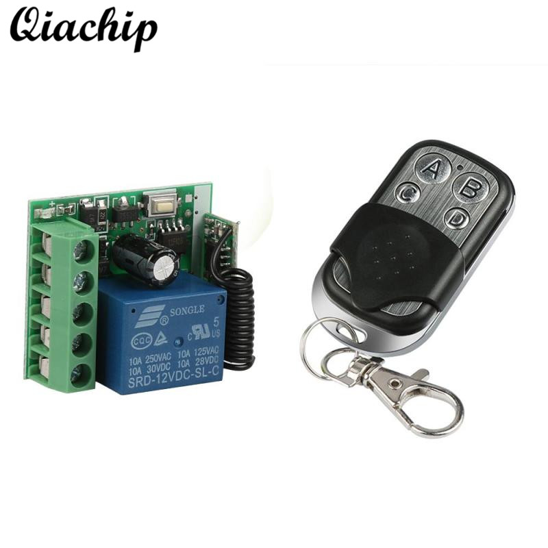 QIACHIP 433Mhz Wireless Remote Control Switch DC 12V 4CH Relay Receiver Module and RF Transmitter 433 Mhz Learning Code Button