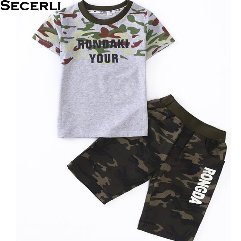 4 to 15 Years Camouflage Boys Set Summer Short-Sleeve T-shirt Boys Short Tracksuit Children Clothes Kids Girls Boys Sport Suits new fashion kids clothes set baby boys summer 2pcs set short sleeve t shirt and striped short outfit children set