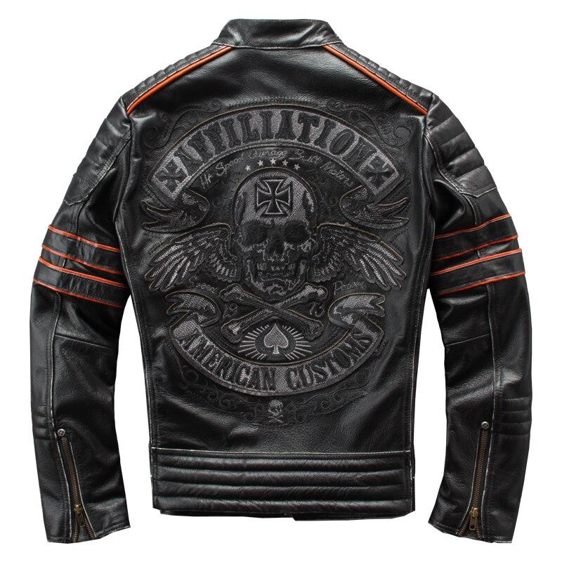 HARLEY AMEIXA Preta Do Vintage Jaqueta de Couro De Motociclista Dos Homens Crânios Bordados Plus Size 4XL Genuine Casaco de Couro Slim Fit Motocicleta