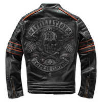 HARLEY DAMSON Vintage Black Men Embroidery Skulls Biker's Leather Jacket Plus Size 4XL Genuine Cowhide Slim Fit Motorcycle Coat
