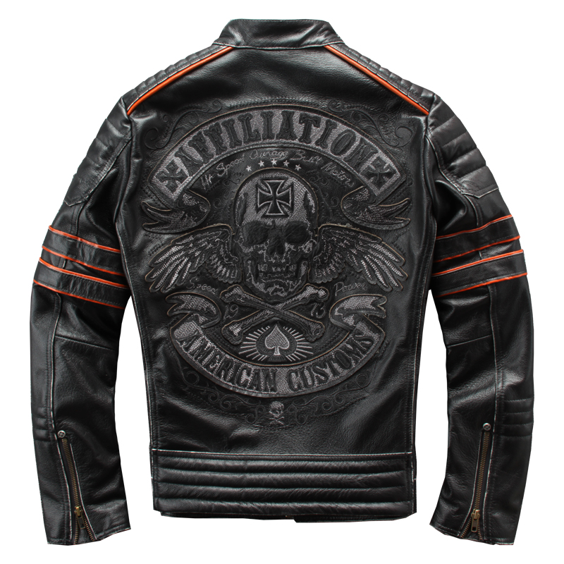 HARLEY DAMSON Vintage Negro hombres bordado calaveras chaqueta de cuero de motorista talla grande 4XL cuero genuino Slim Fit chaqueta de la motocicleta