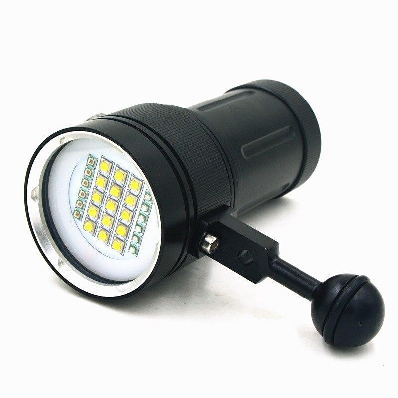 Nouvelle plongée sous-marine 100 M XM-L2 LED caméra vidéo photographie lumière torche lampe de poche (torche seulement)