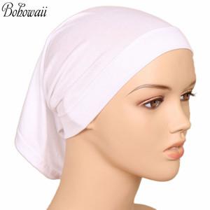Image 1 - BOHOWAII イスラム教徒イスラムボンネットヒジャーブキャップ 20 色高品質 Hidjab 女性スカーフの下カジュアル Turbante