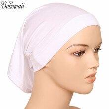 BOHOWAII Muslim Islamic Bonnet Hijab Caps 20 Colors High Quality Hidjab Women Under Scarf Casual Turbante