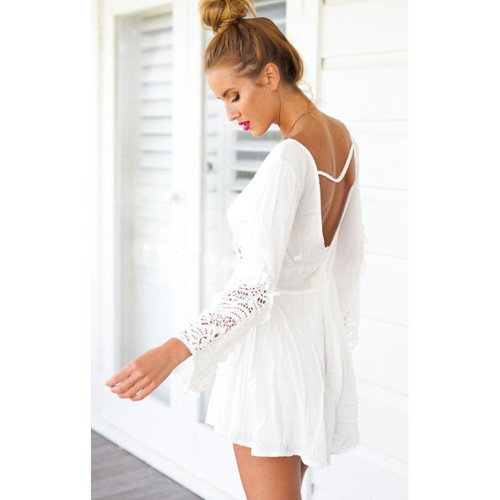 Fashion Women Jumpsuits Sexy V-neck Solid Skinny One Piece Backless Lace Jumpsuit Pantskirt Hollow Out Beach Style Playsuit