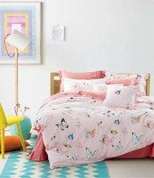 Taze pembe kelebek baskı nevresim takımları kraliçe tam İkiz kral yatak çarşafları pamuk kapakları yorgan çarşaf kız yatak odası dekor
