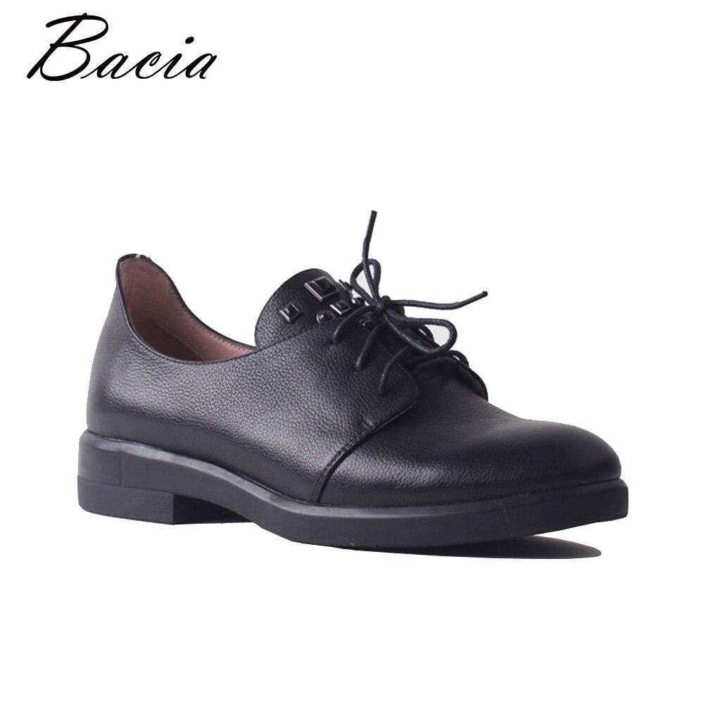 Bacia Nouvelle Mode Véritable Cuir à Lacets Taille 35-41 Haute Qualité Flats Femme Confortable Chaussures de Conduite Femmes main SA103