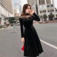 2018 Autumn Women's Black Velvet Dress Vintage See though Mesh Patchwork Velour Midi Dress Long vestidos Laides Party dress