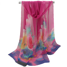 Spring and autumn new ladies print scarf women rose flowers chiffon scarves flowers tulle scarf shawl beach towel headscarfs women peacock flowers print soft lightweight chiffon scarf