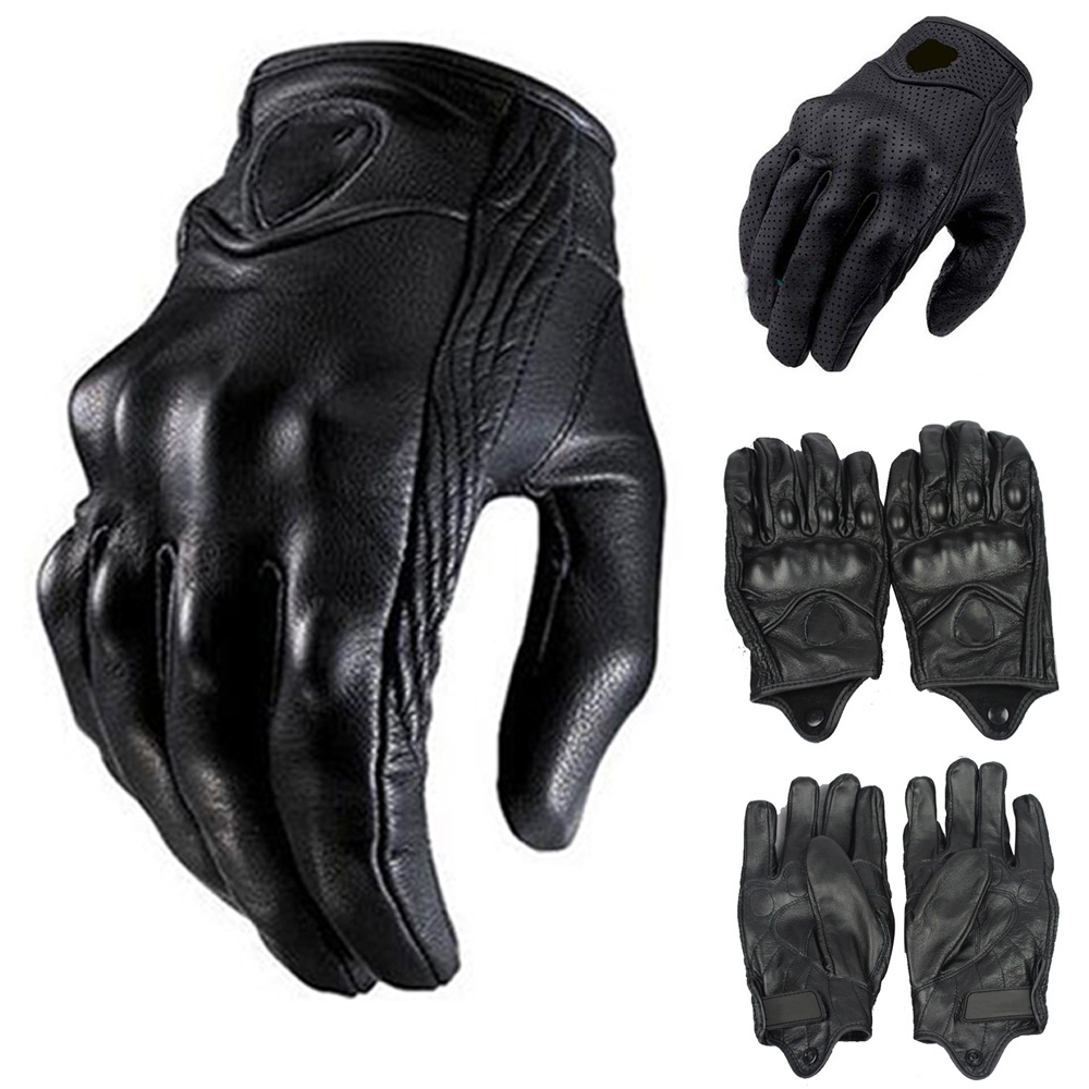 Motorcycle gloves all season - Outdoor Sports Motorcycle Gloves Real Black Genuine Leather All Season Glove Touch Screen Perforate Men Racing