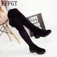 EFFGT Women Shoes New Over The Knee Thigh High Black Boots Women Motorcycle Flats Long Boots