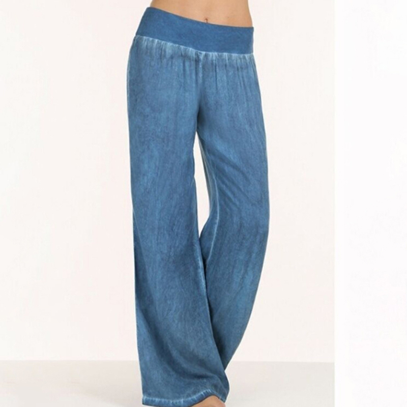 New Mid Waist Pleated   Pants   Casual Loose Solid Long Denim   Pants   Elastic Waist Fashion   Wide     Leg     Pants   Plus Size S-5XL