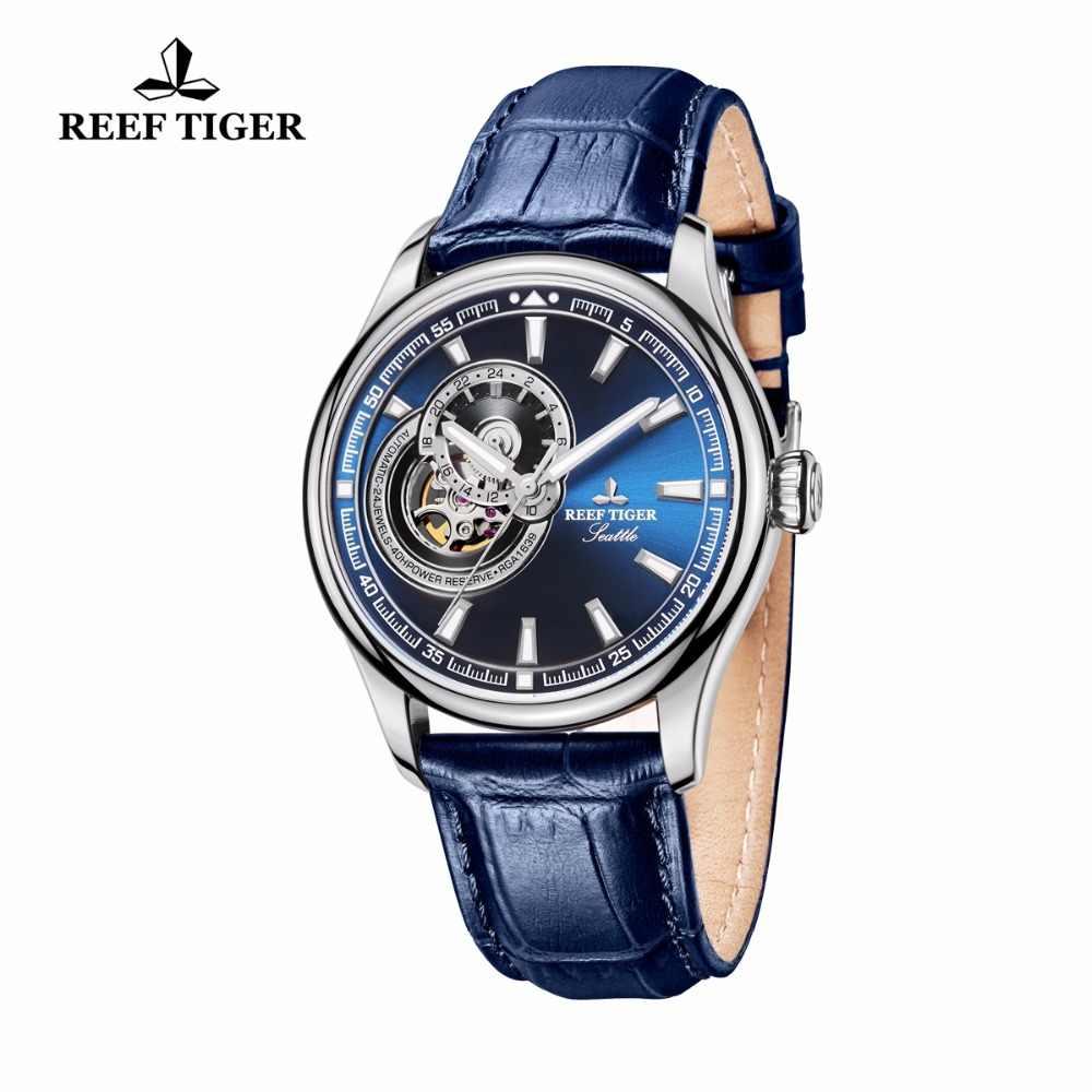 שונית טייגר/RT סיבתי שעון לגברים אמיתי רצועת עור כחול חיוג שעונים Tourbillon קוורץ אנלוגי שעון יד RGA1639