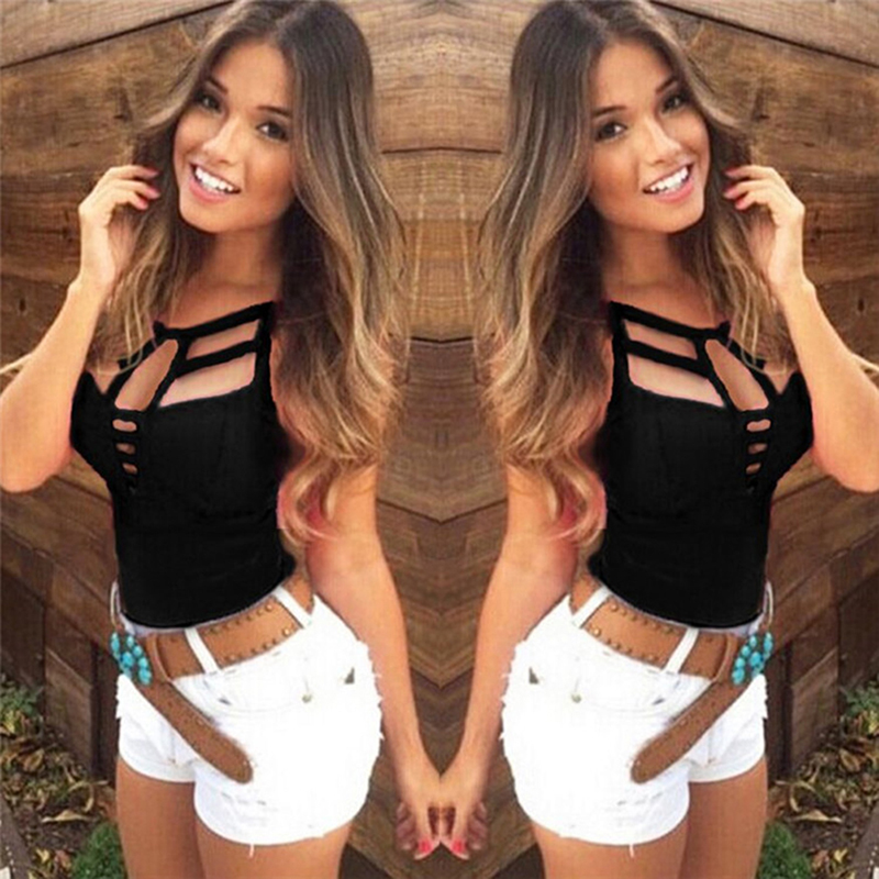 Fashion Ladies Summer Casual Sleeveless Bandage Hollow Out Slim Vest T-shirt Camis Gilet Sexy Women Tank Tops
