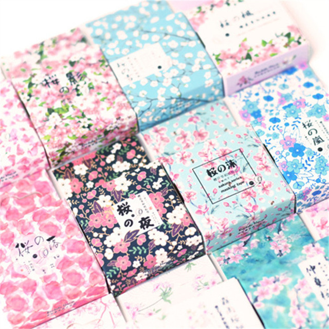 Lindo Kawaii cereza japonés Sakura enmascarar Washi cinta adhesiva decorativa decoración Diy Scrapbooking etiqueta papelería