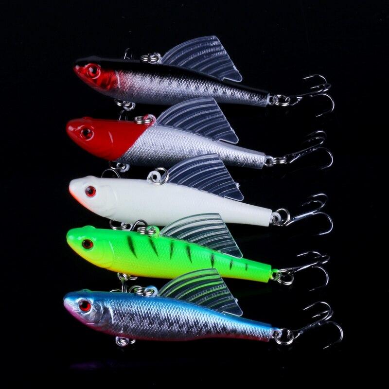 5PCS Fishing Lure Treble Hook Lures Crankbait Minnow baits 7cm//6.3g