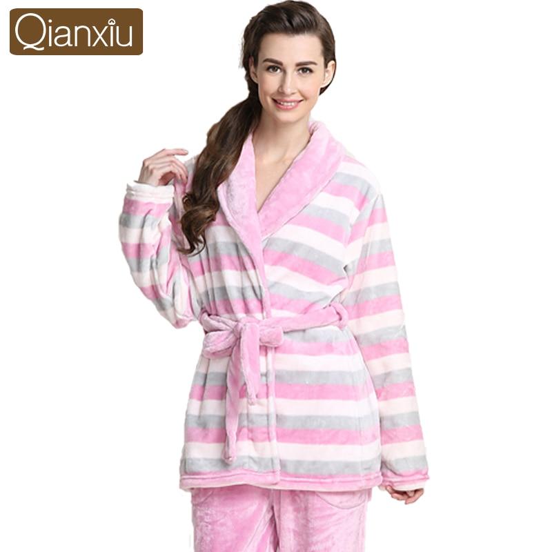 c777508c9c Qianxiu Brand Pajamas Thicken Mink Wool Pajama Set Women ...