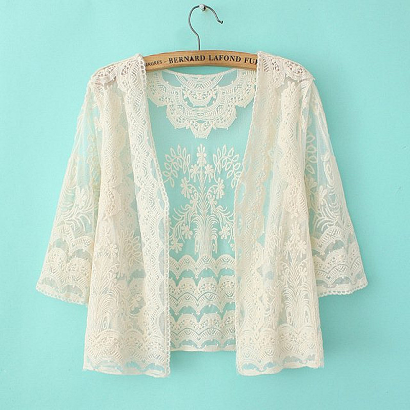 Free shipping 2016 korean style summer cardigan women casual beige color lace  cardigan - Beige Crochet Cardigan Promotion-Shop For Promotional Beige