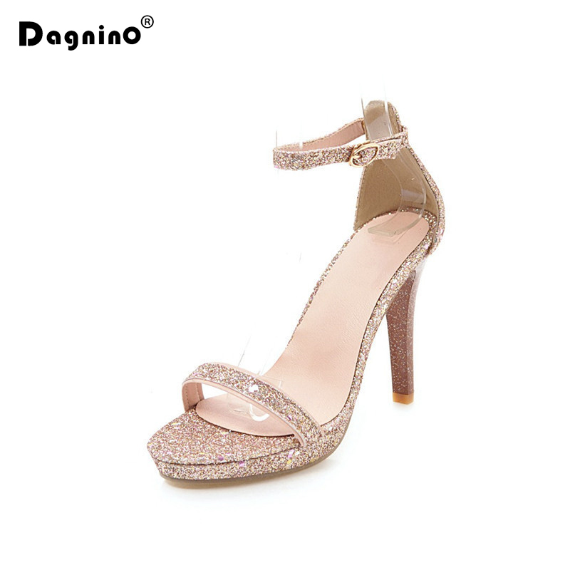 DAGNINO 10.5 CM Extreme High Heel Sandals Women 2018 Summer Shoes Big Plus Size 33-43 Woman Sequins Sexy Heel Silver Gold Ladies