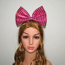 20pcs/lot LED flashing hair bows toys lights head hoop led glowing headwear toy birthday party supplies Light bowknot Headwear