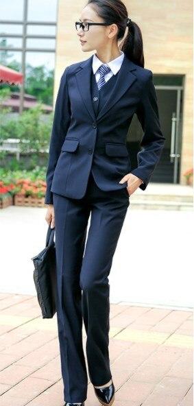 Office Uniform Designs Women Work Pant Suits For Women Black Blue Gray 2 Pieces Set Plus Size Women's Pants And Blazers 7XL 8XL
