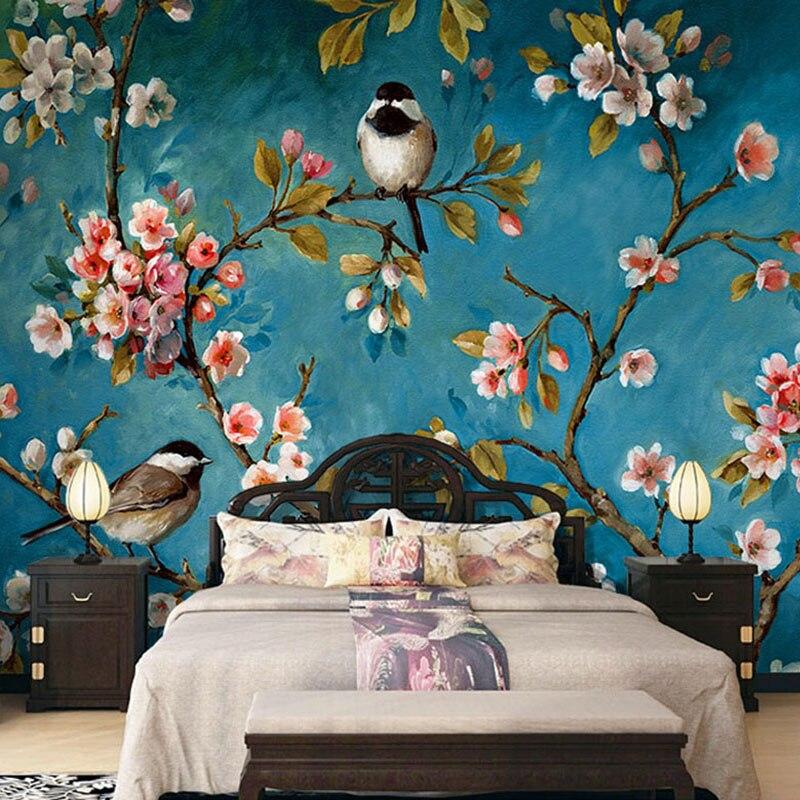 Foto Wallpaper 3d Stereo Cina Bunga Burung Lukisan Dinding Kamar