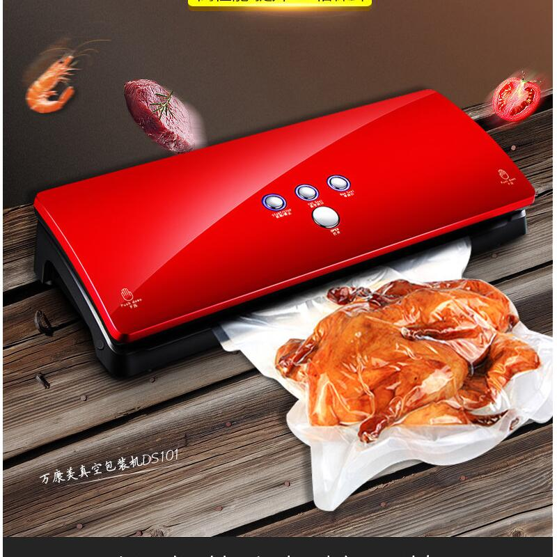 110-240V Automatic small Household food vacuum machine Packing Machine Wet and dry Vacuum sealer red new automatic household and commercial wet and dry dual use electric vacuum food sealer machine