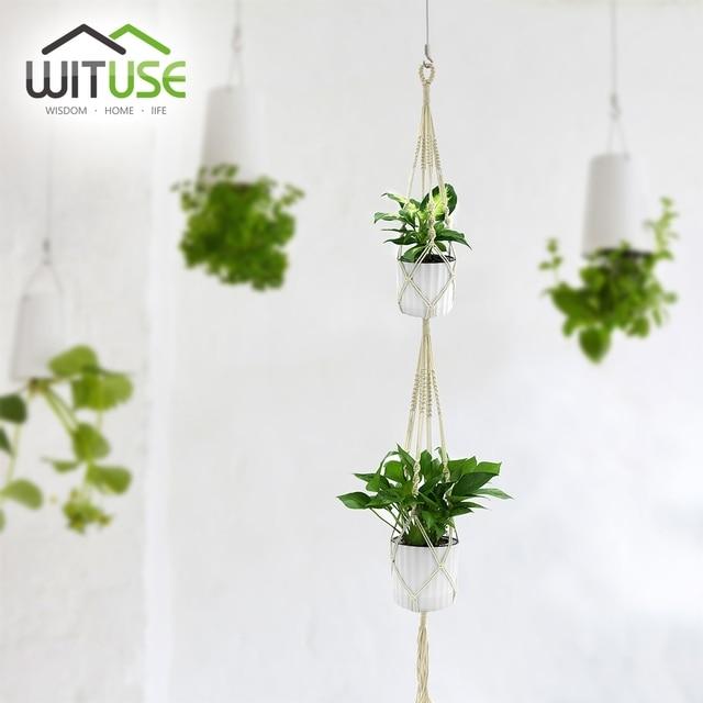 WITUSE 2 Deck Pure Cotton Macrame Rope Flower Pot Hanger Wall Balcony Outdoor  Plant Garden