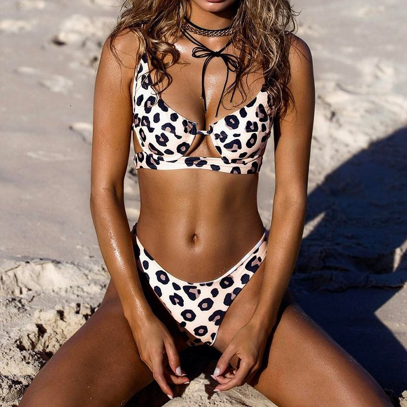 New Sexy Leopard 2019 Bikini Women 39 s Swimsuit Leopard Print Hollow Belt Steel Chest Pad Two Piece Swimsuit in Body Suits from Sports amp Entertainment